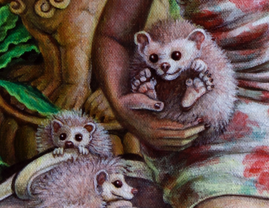 Detail of hedgehogs.