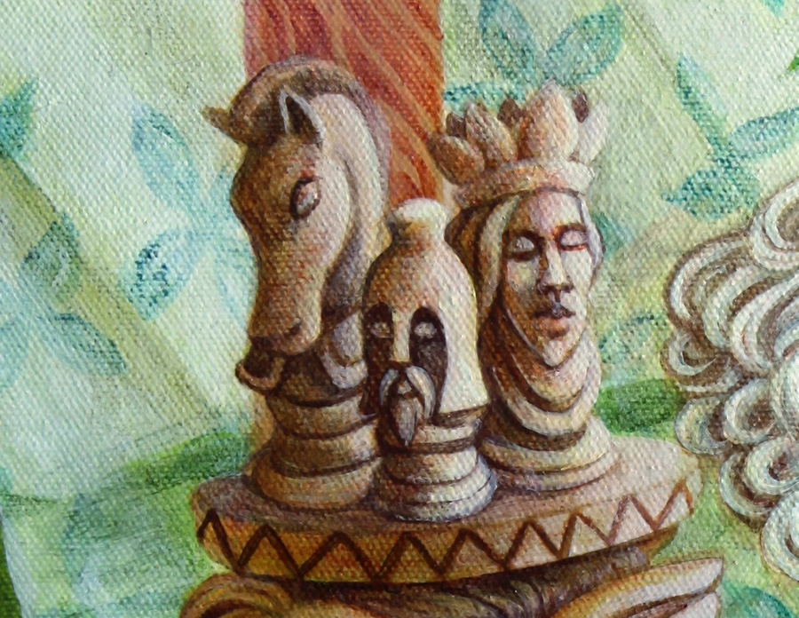 Detail of the chess pieces.