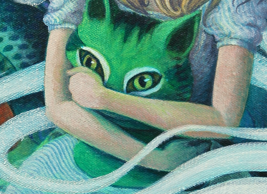 Detail of Cheshire pillow.