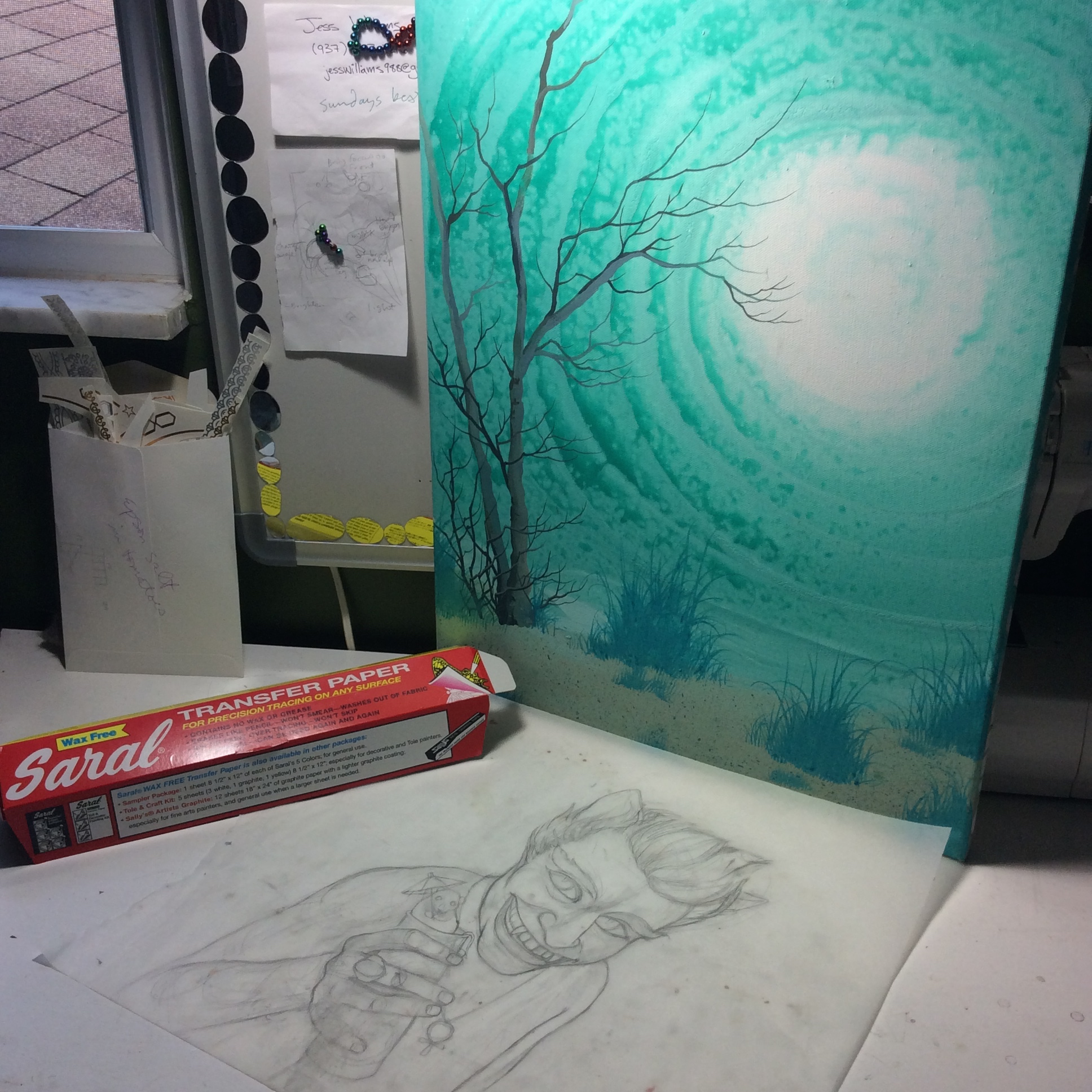 My sketch and his background.