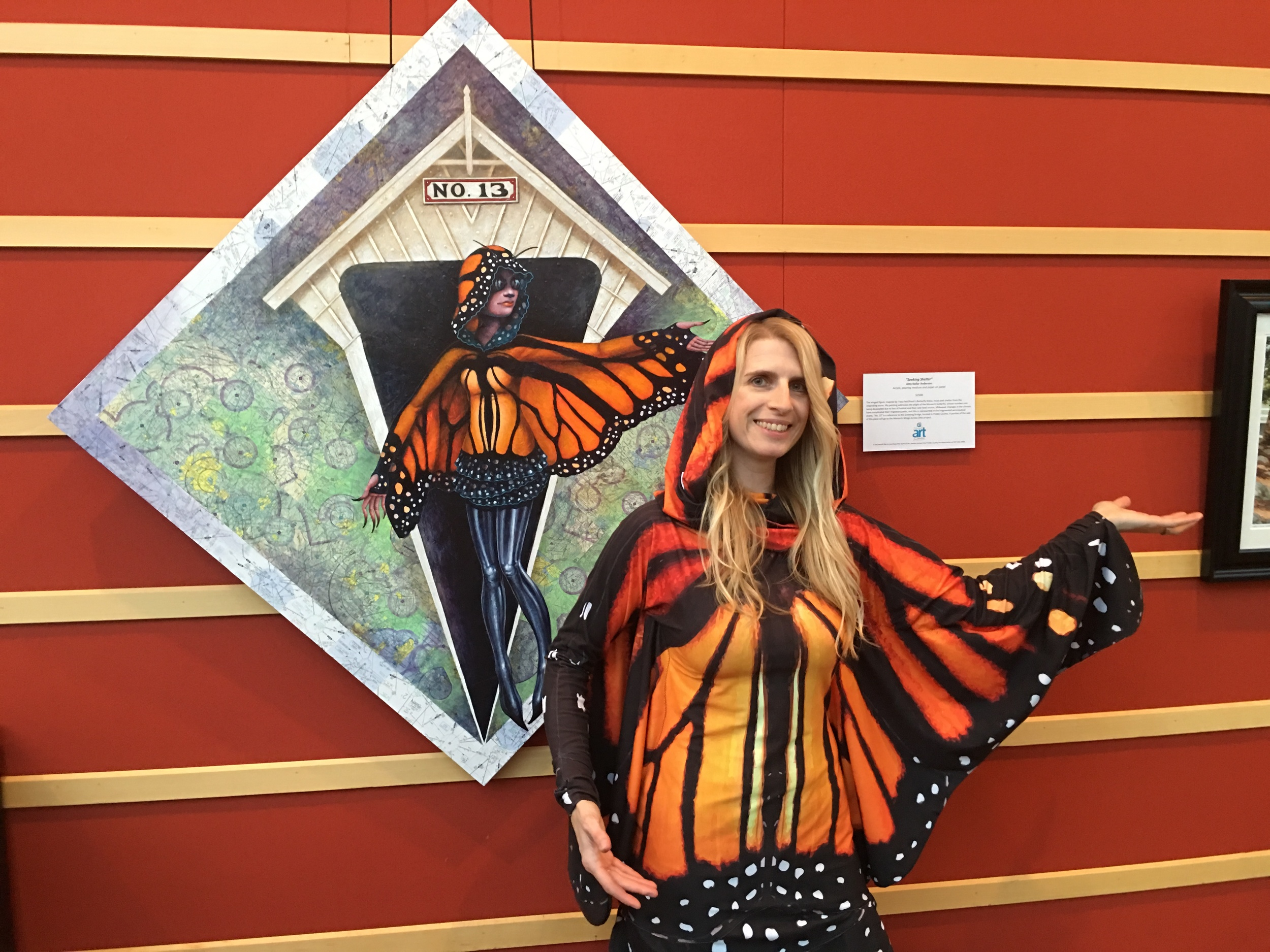 Posing in the  Butterfly Dress by Tracy McElfresh  next to my painting,   Seeking Shelter ,  which was inspired by her sewn creation, at the Schuster Performing Arts Center for  Bridges of Preble County . Thank you for letting me wear it, Tracy! I swear I will give it back...some day!