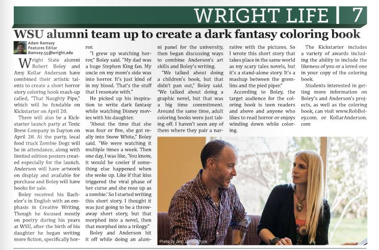 Rob and I were interviewed by  WSU's The Guardian for   That Naughty Pipe !