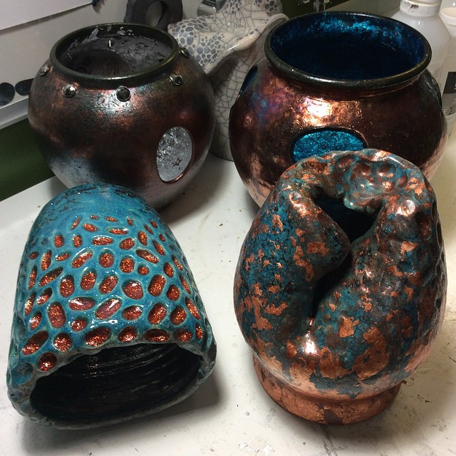 Some alterations with glitter fills and copper foils adornments. Also, some other Raku fired pieces we collaborated on. Such a great experience!