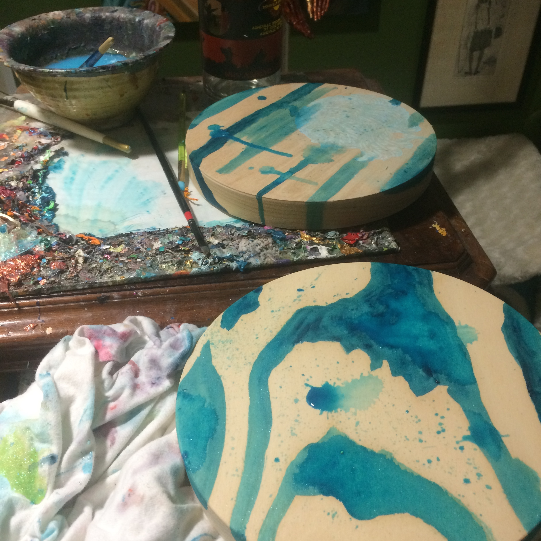 Washes of Turquoise Deep acrylic paint.