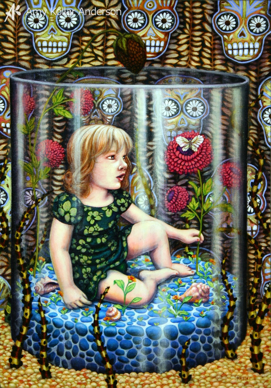 """Wiggle Room  : acrylic on canvas : 14"""" x 20"""" : 2008 Collection of L. Bachman •   Studio Images"""