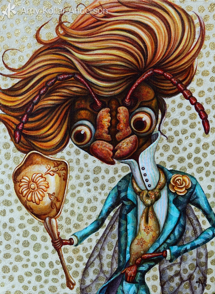 """Dandy Do   : acrylic and glitter on canvas : 10"""" x 14"""" : 2011     Available   •   Studio Images •     G    oodies"""