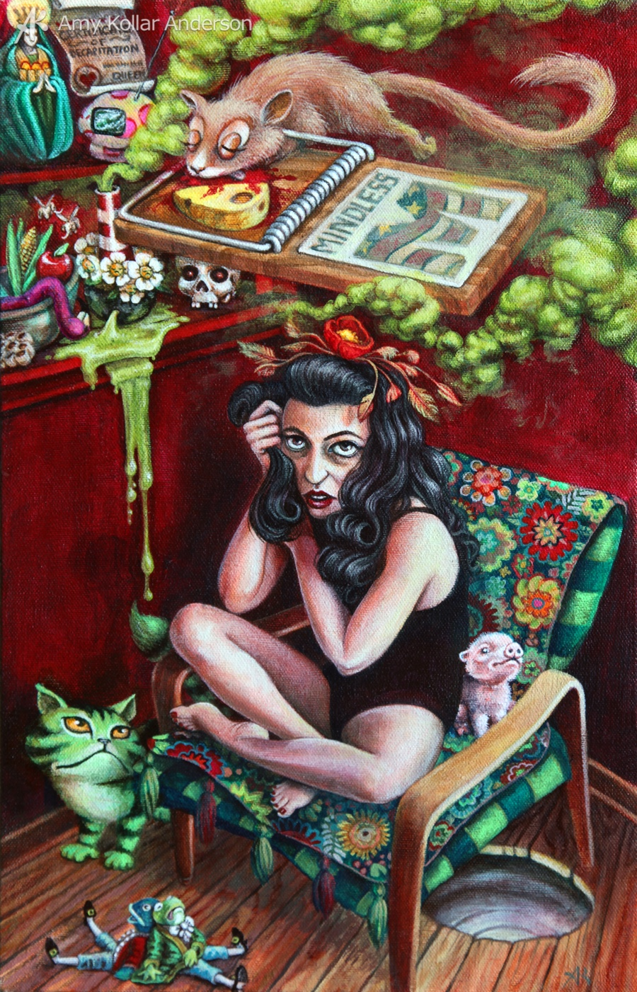"What the Dormouse Said   : acrylic on canvas : 10"" x 16"" : 2012   Collection of Z. Pate •    Studio Images"