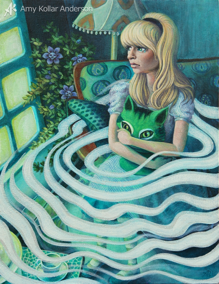 "Missing the Cheshire   : acrylic on canvas : 12"" x 16"" : 2013   Collection of L. Peaden  •     Studio Images  •      Goodies"