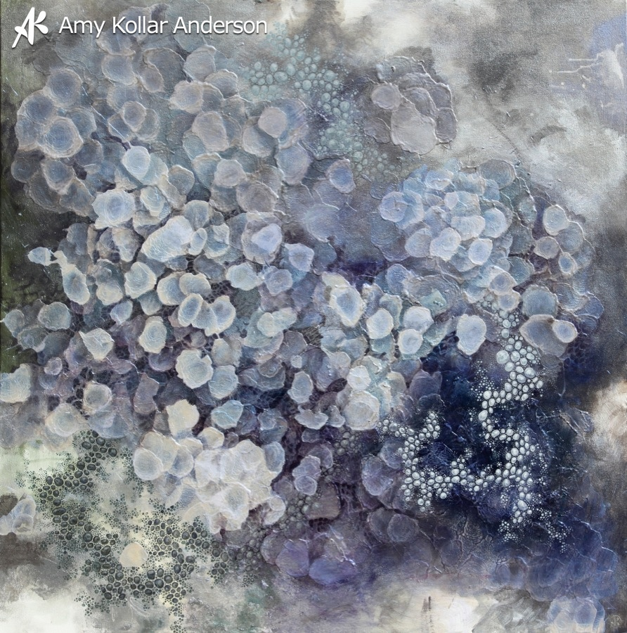 """Respiration   : acrylic and glitter on canvas :38"""" x 38"""" :2013 Collection of A. Skrlac •    Studio Images"""