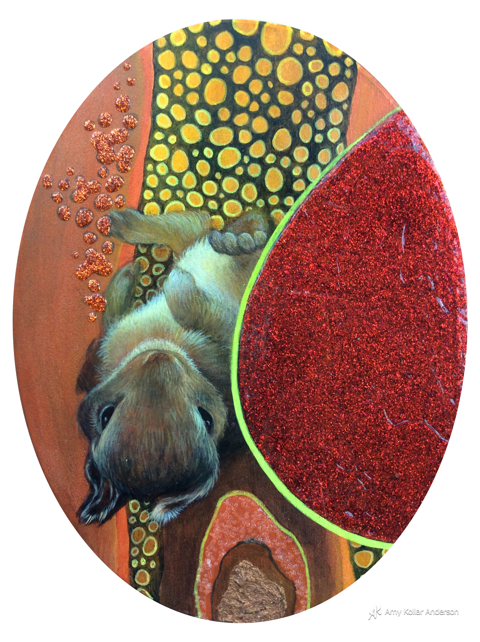 """Baby Bunny  : acrylic paint, glitter, gel medium,lava paste, and glass beads : 6"""" x 8"""" x 1"""" :2015 Collection of C. and R. Riordan"""