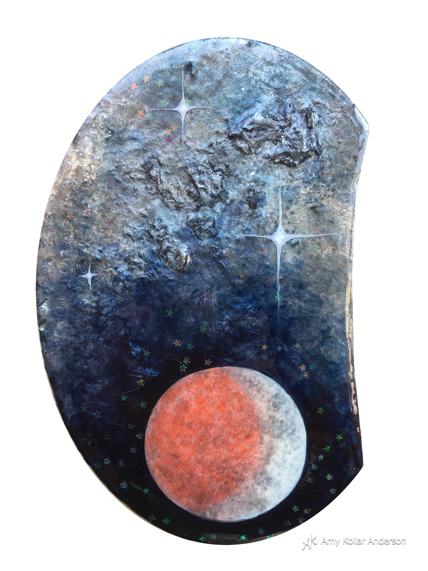 "Blood Eclipse   : acrylic paint, phosperescent paint, lava paste, glitter, and pouring medium :6"" x 8"" x 1"" : 2015   Available"