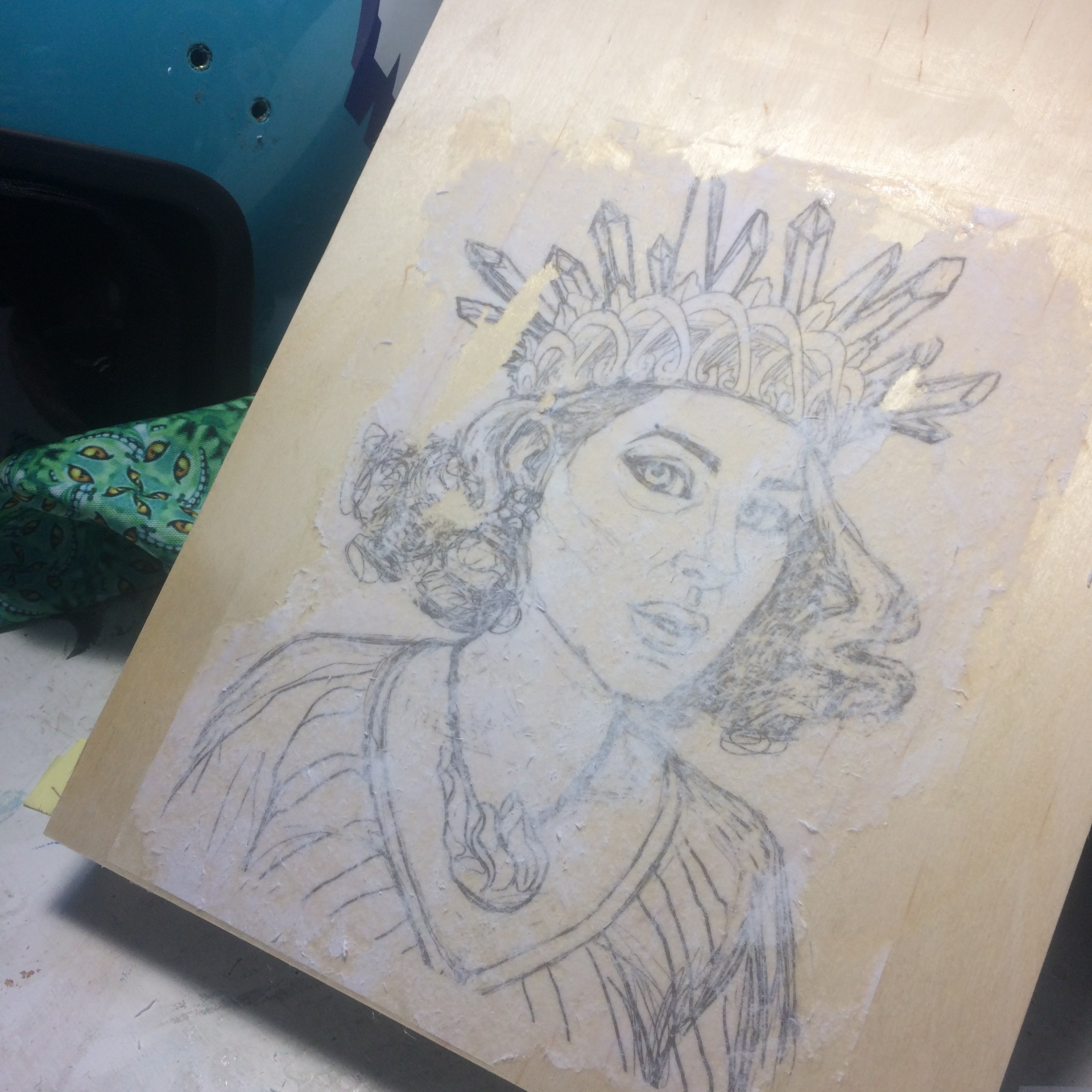 Transfer sketch to wood panel