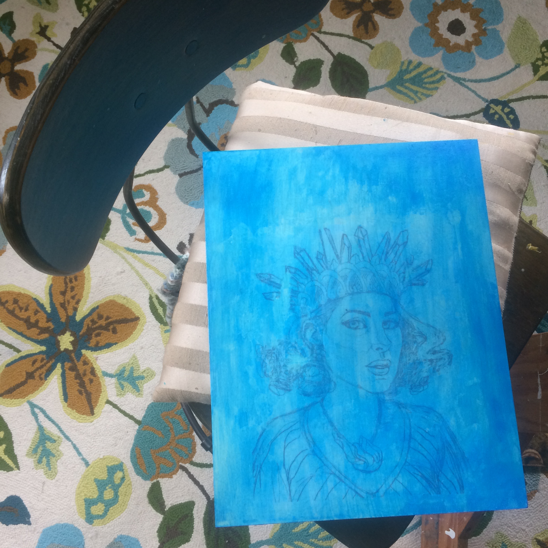 Metallic blue glaze