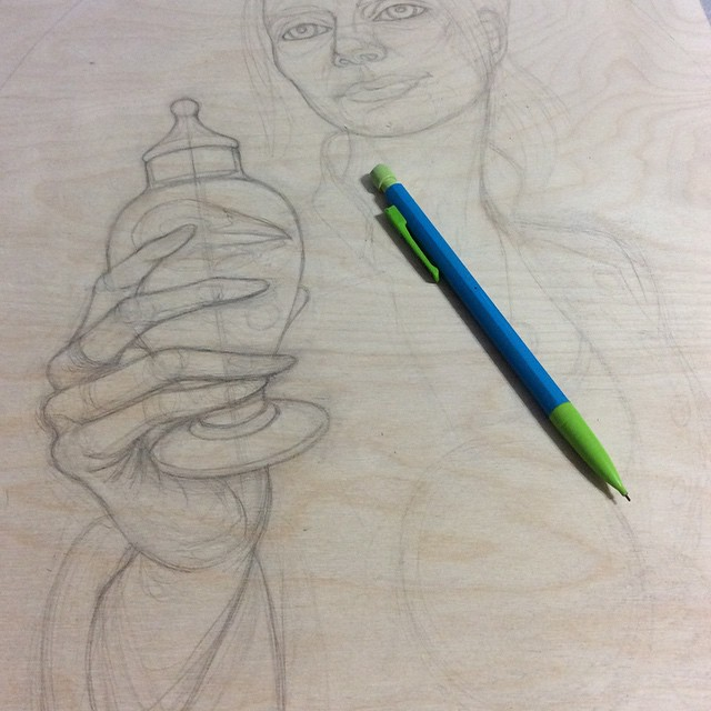 Pencil drawing on birch panel
