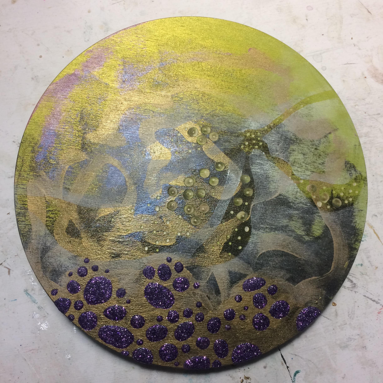 (K) Masked leaf shape, pan pastels, dots with dremel