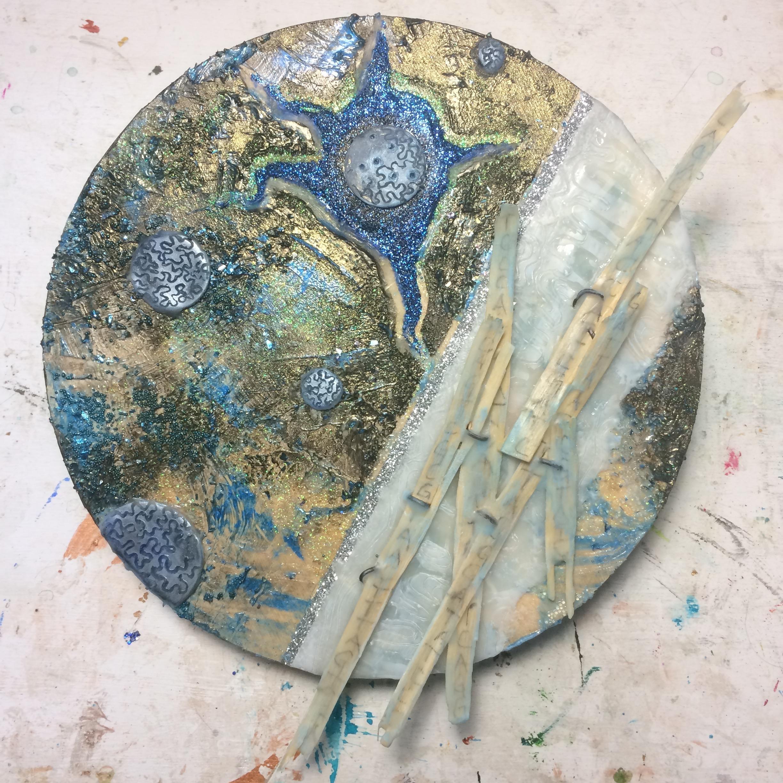 (A) Black glaze, wood strips. No Photo. (K) Wax circles, writing on wood, pastel