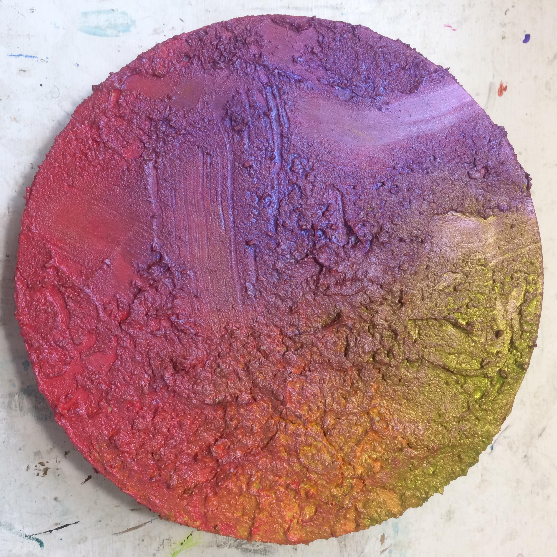 (A) Start lava paste, acrylic paint.