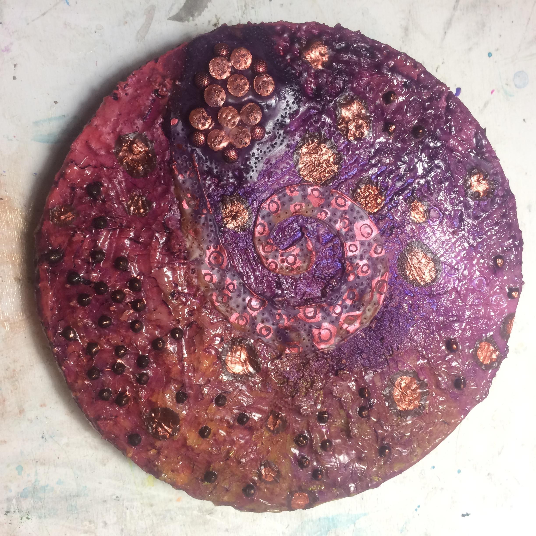 (K) Encaustic spiral, oil pastels. (A) Acrylic glazes.