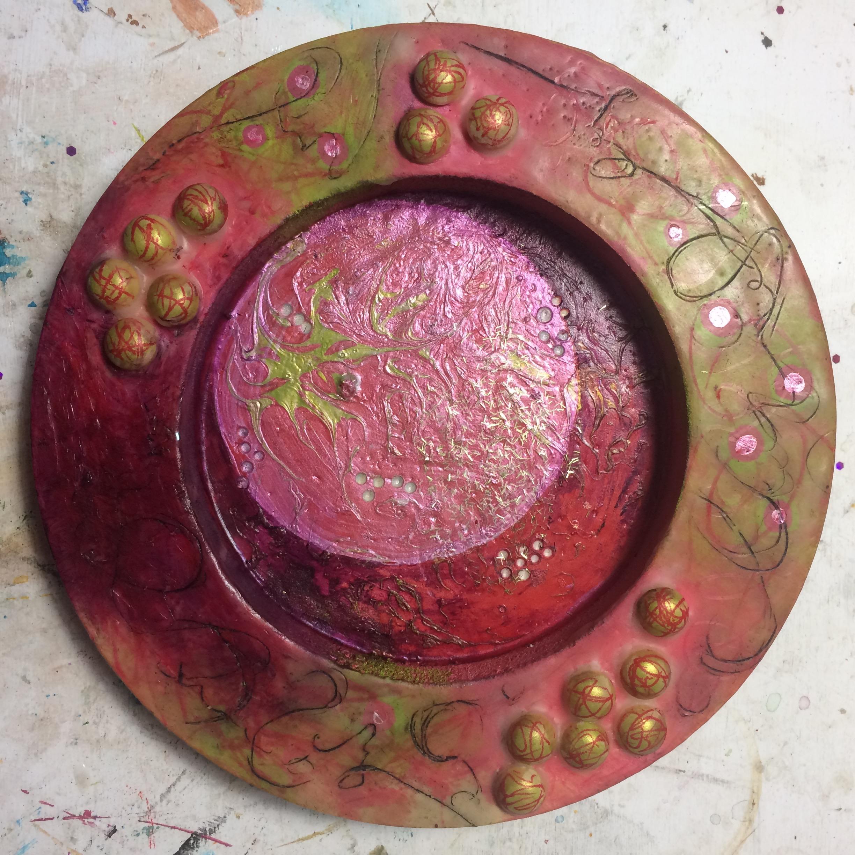 (A) Iridescent circle and wax pencil scribbles, acrylic, matte medium.