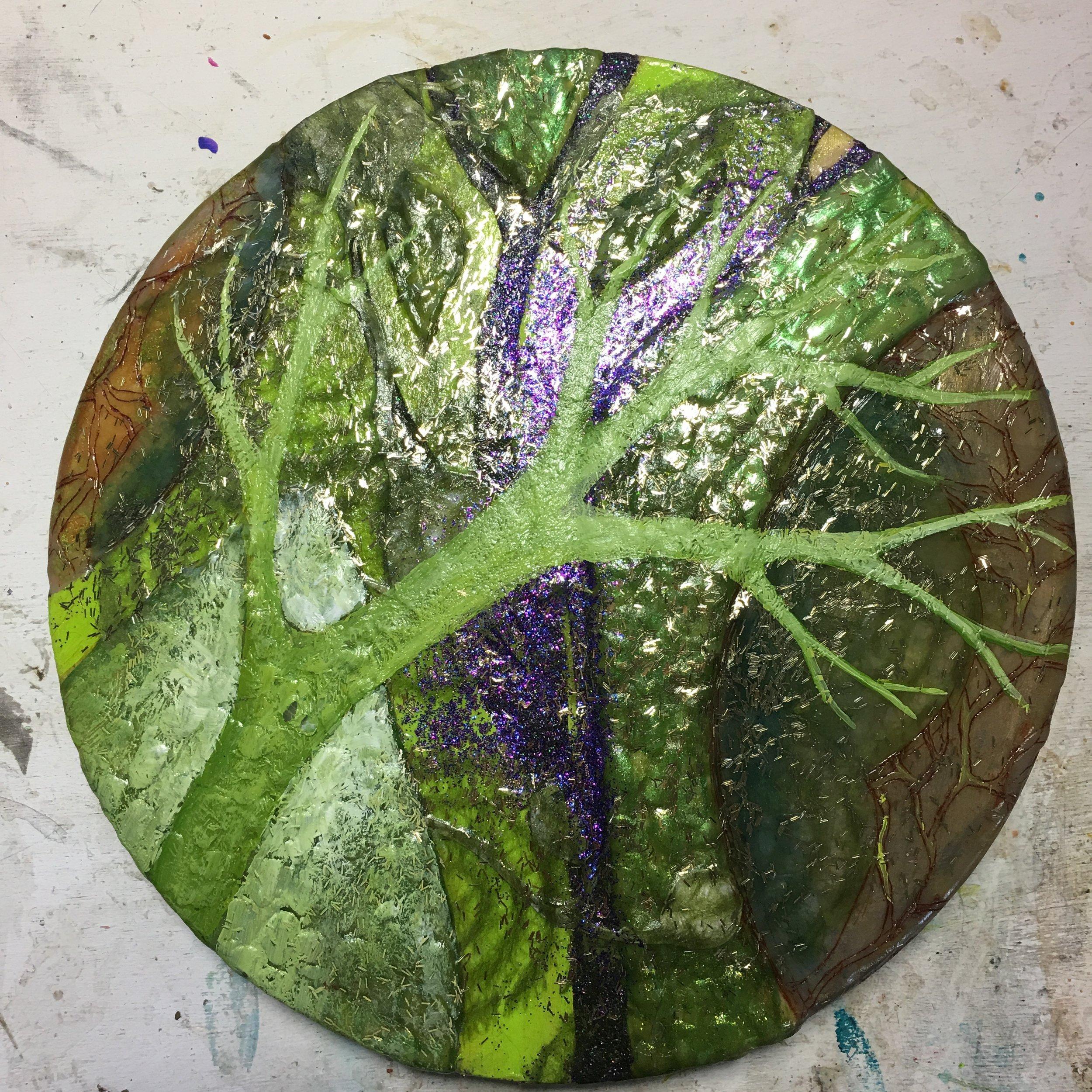 (A) Glitter, acrylic branch, gel medium.