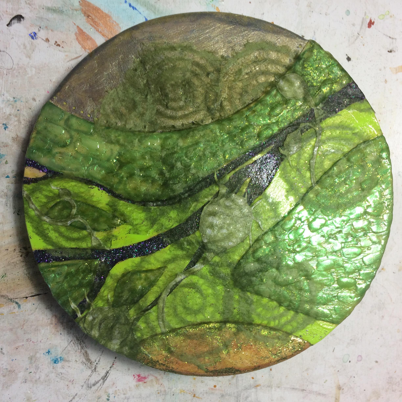 (A) Rice paper swirls, glitter, acrylic.