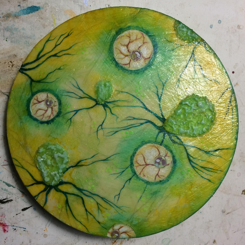 (K) Green halos, waxed over mycelium, waxed side.