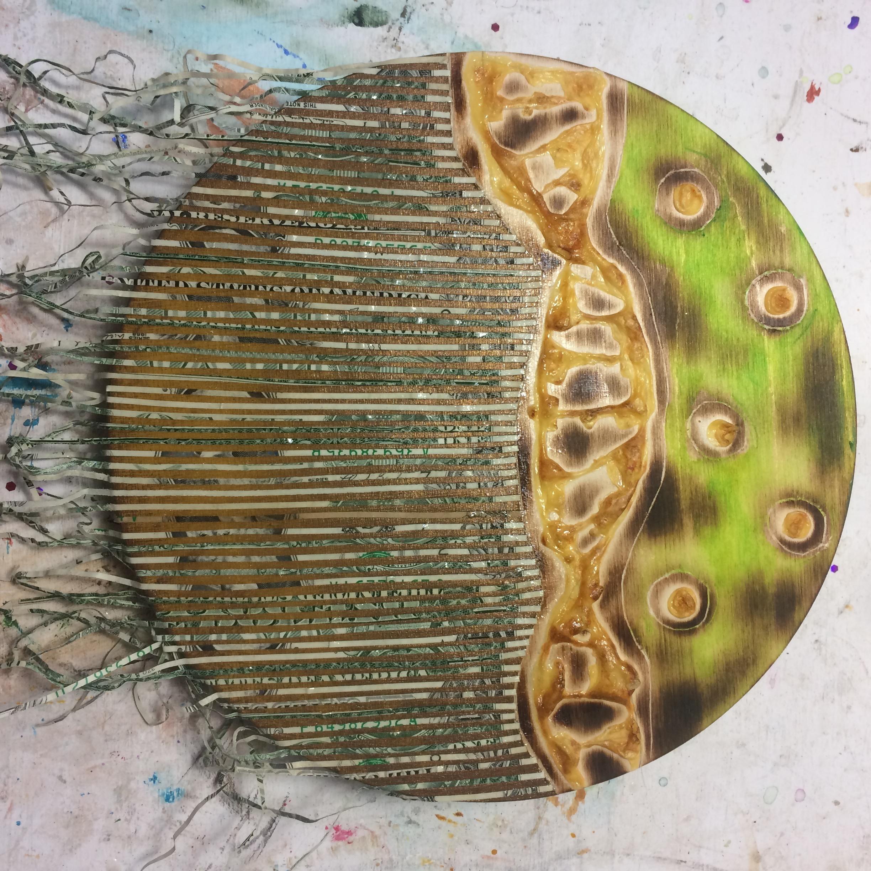 (A) Acrylics, shredded money.