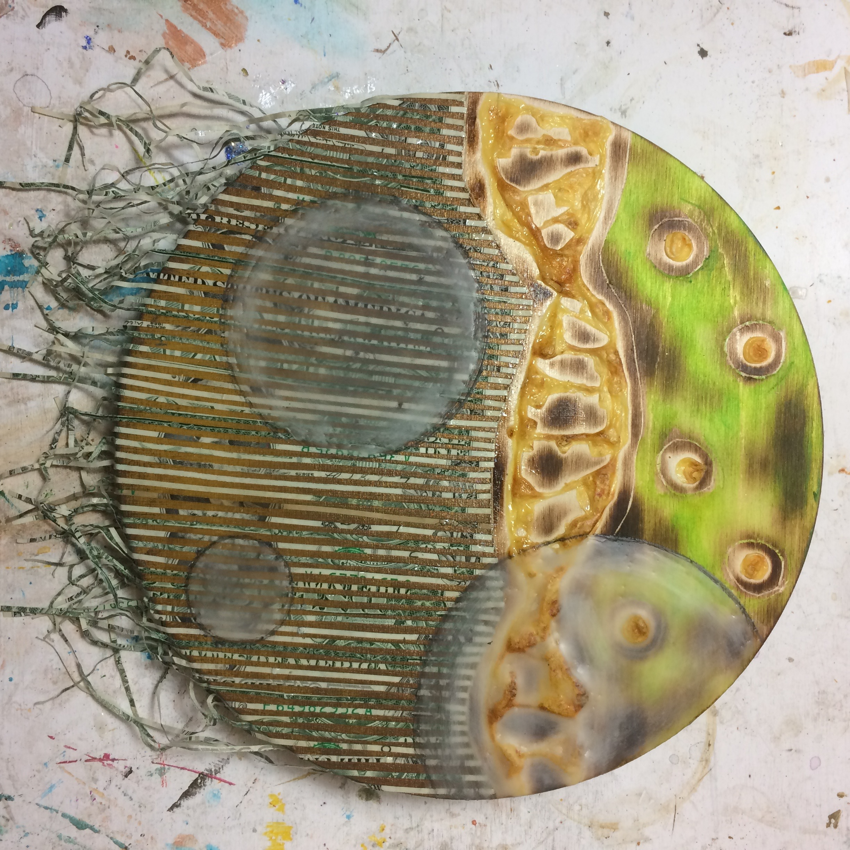 (K) Translucent wax circles.