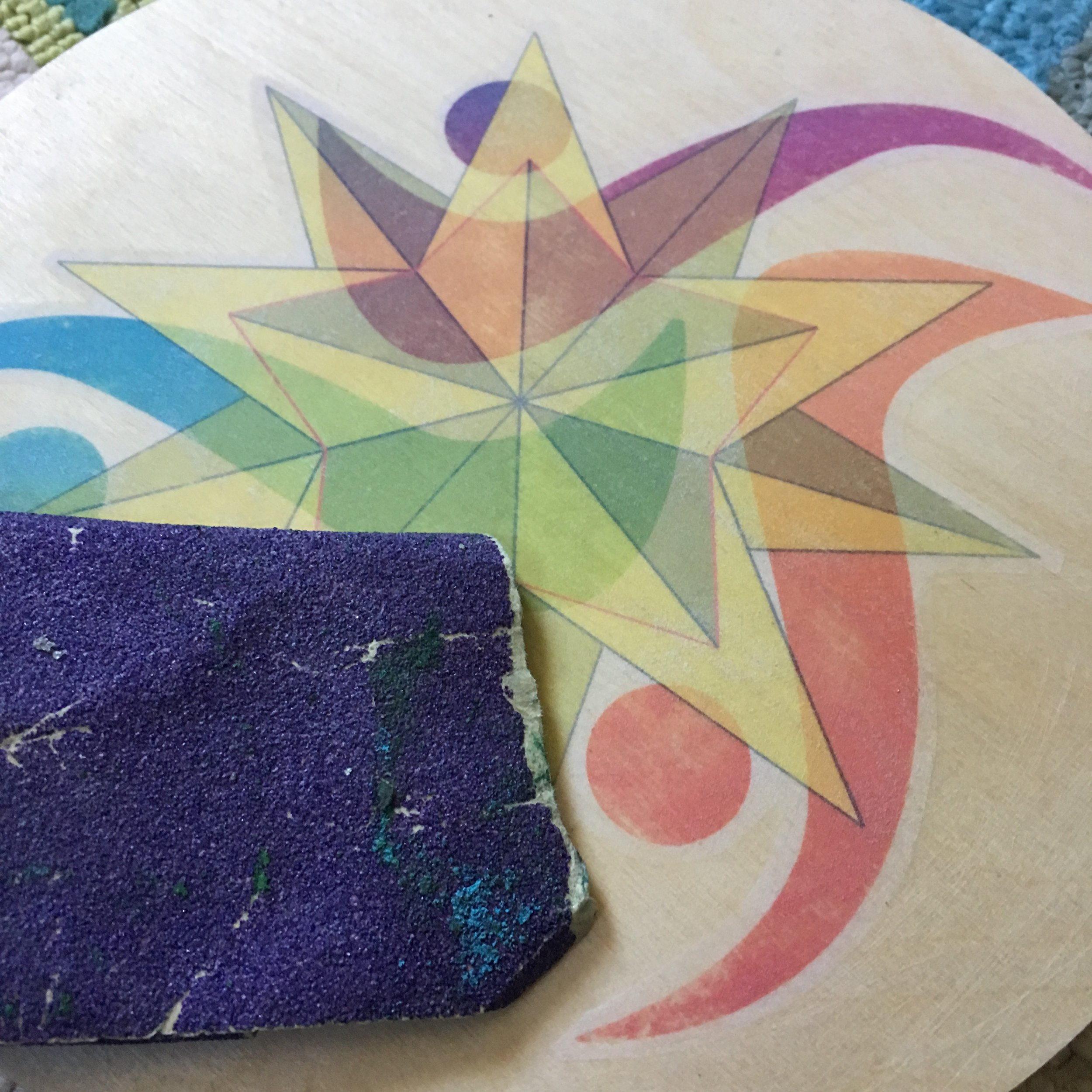 """Lightly sand surface to soften edges and """"blend"""" the artwork."""