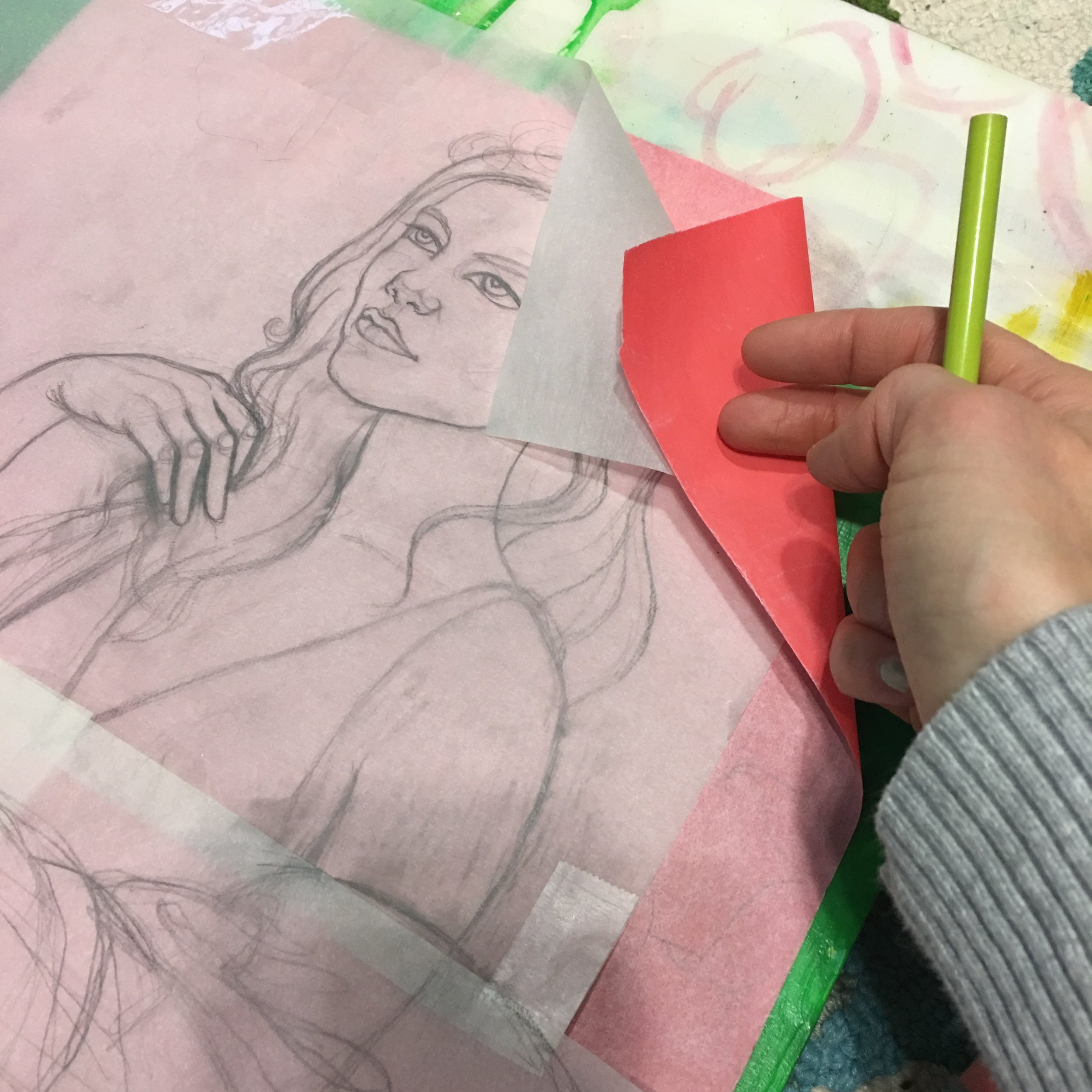 Using red carbon paper, I transfered the drawing to the panel.