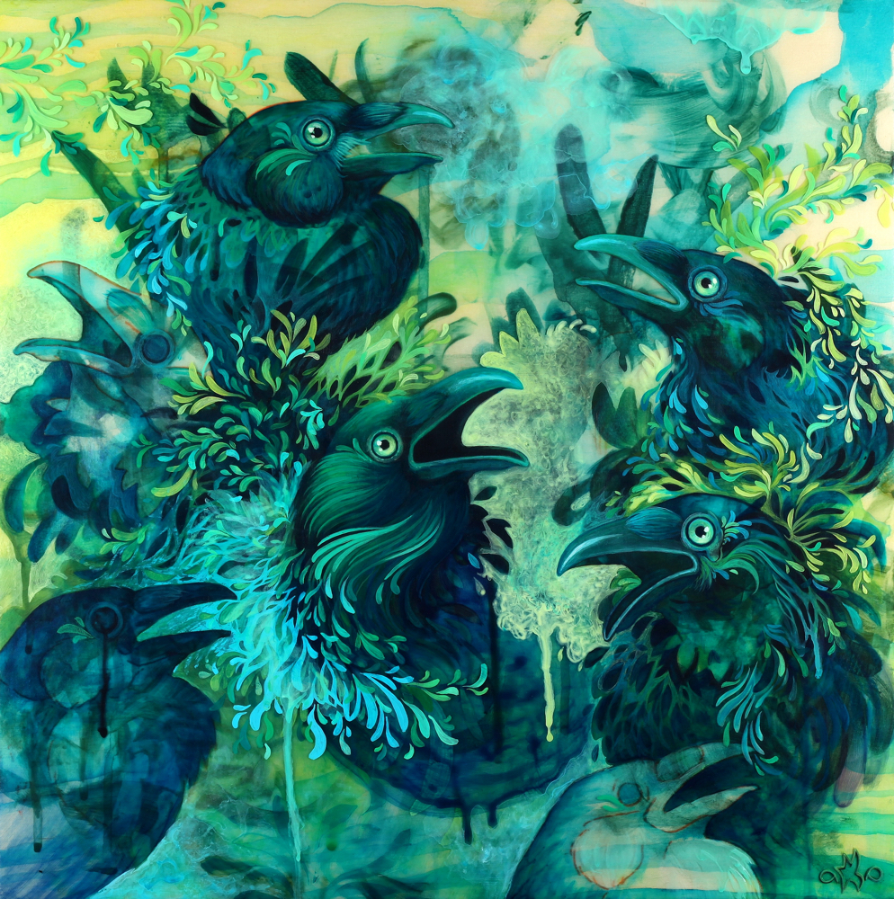 """Chemical Crows • Acrylic and Pouring Medium on panel • 16"""" x 16"""" •  Studio Images  •  Prints  •  Available"""