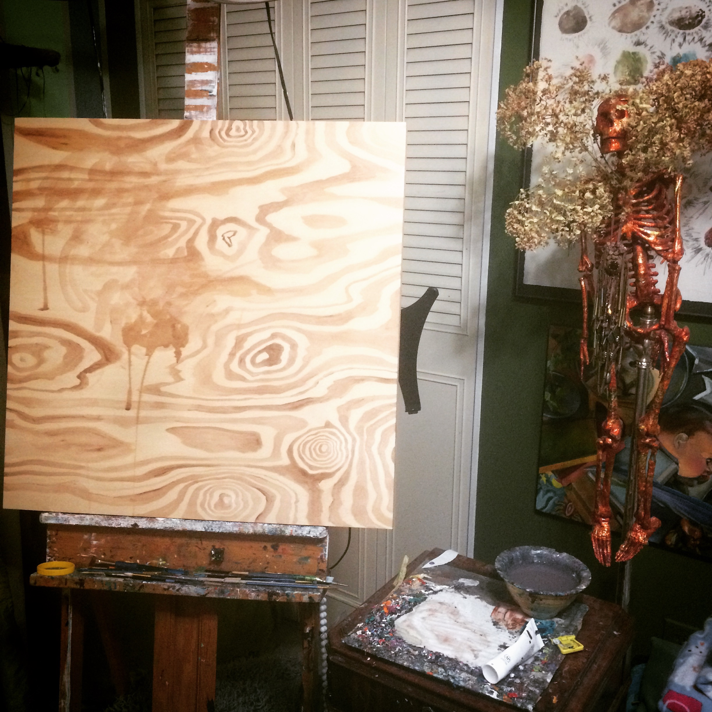 Working with the wood grain to find a composition.