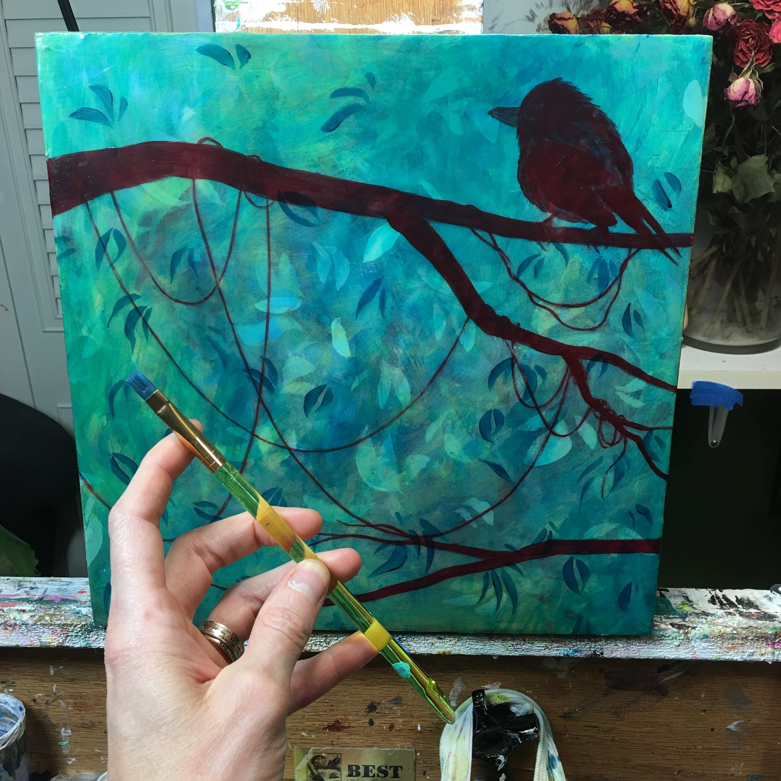 The background is several layers of acrylic and Pouring Medium.