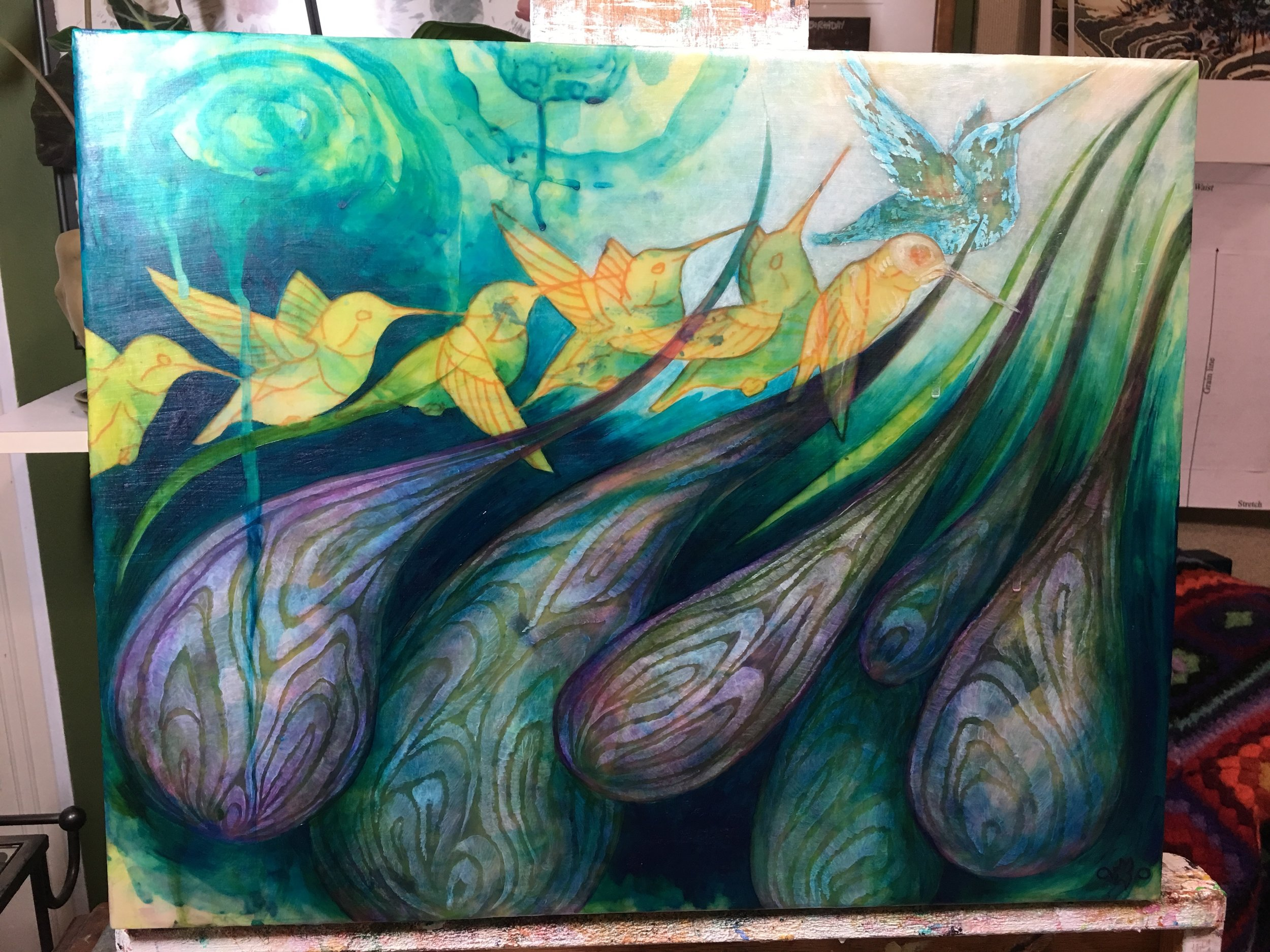 brought the Turquoise Deep into other areas of the piece to darken the purples around the onions.