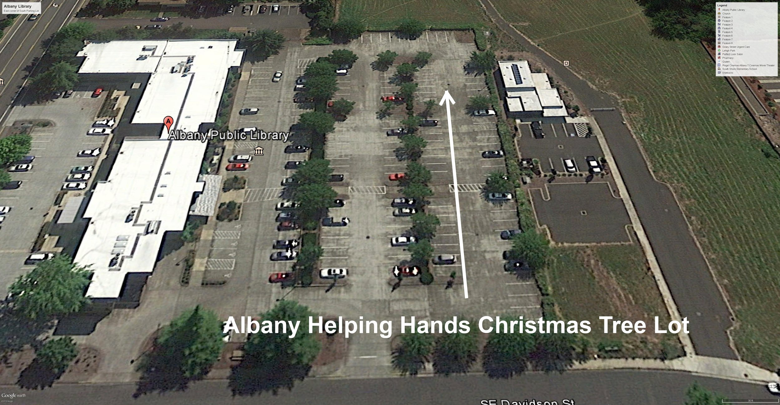 Tree lot in Albany Library South parking lot (upper right). Library (left) and 14th Ave SE (left edge of picture)