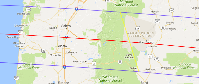 [Map2] We lie just 9 miles south of the path of maximum totally (red line). The two purple lines are the northern and southern limits of totality.The above is a screenshot from a short session using the Interactive Map from NASA.   Note that the path of maximum totality will cross just south of Monmouth, Turner and Stayton before passing over Lyons and Mahama.  For local, down to the tenth of a second timing of the eclipse use the interactive map at the Eclipse 2017 NASA web site or  click here .