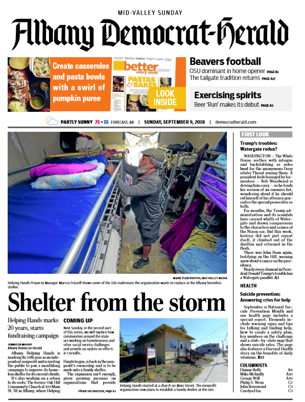 "Please check out the front page newspaper story  "" Shelter from the Storm ""  about our 20th Anniversary can be read by   clicking here  ."