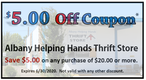 Click on Image of Coupon above and save coupon to your mobile device then present to store clerk for your $5.00 savings on any purchase of $20.00 or more. You can also click on coupon and print out the coupon and present to Thrift Store staff for your discount.