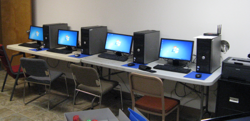 Old PC's in Albany Helping Hands Computer Lab that are in need of replacement.