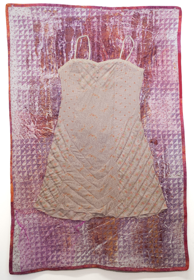 """Textile work by   Esther S. White , one of the presenters at the Northampton ArtSalon, Friday, December 5, 2014. The artist describes this work as one inan """"ongoing series of quilts and printed textiles investigating chronic pain as a feminine problem."""""""