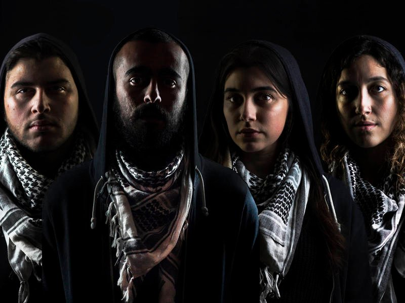 PHOTO CREDIT: (left to right) Chris Khoshaba, Salar Ardebili, Gloria Imseih Petrelli and Tina El Gamal in a publicity image for Interrobang Theatre Project's Chicago premiere of I CALL MY BROTHERS. Photo by Salar Ardebili.