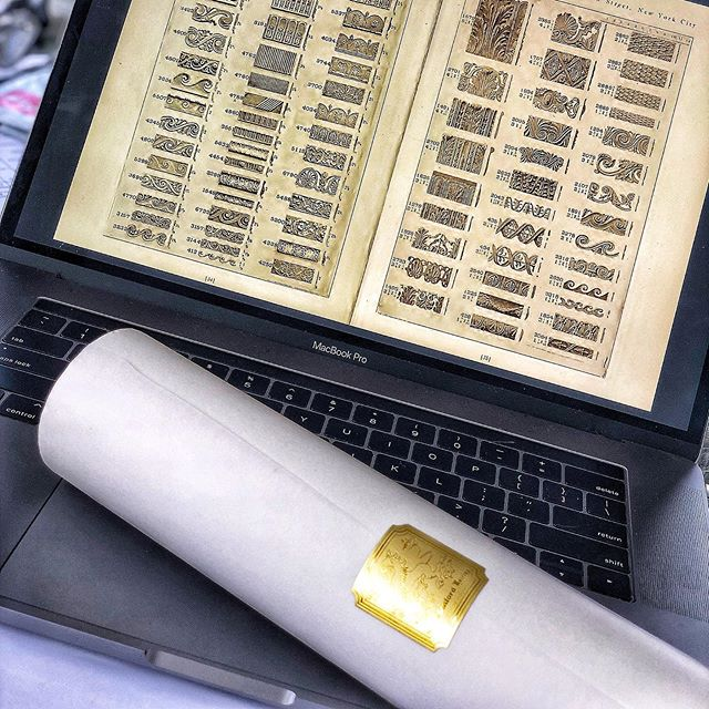My new roll if trace came with a beautiful gold seal...perfect for sketching from the 1900s carving catalogue I found! #exhalegroup #historicarchitecture #oldbooks #sketch #branding #goldseal #tracingpaper #architecture #architecturedrawings #stonecarving