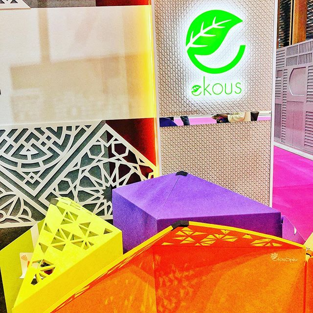 We are at @archidex.my!! First day favourite find @ekouspanel acoustic panels! I love products that can provide beautiful design solutions and open up new possibilities for our projects and of course do it sustainably! #exhalegroup #architecture #interiordesign #acoustic #archidex #colour #recycle #acousticpanels #fabfind #patterns