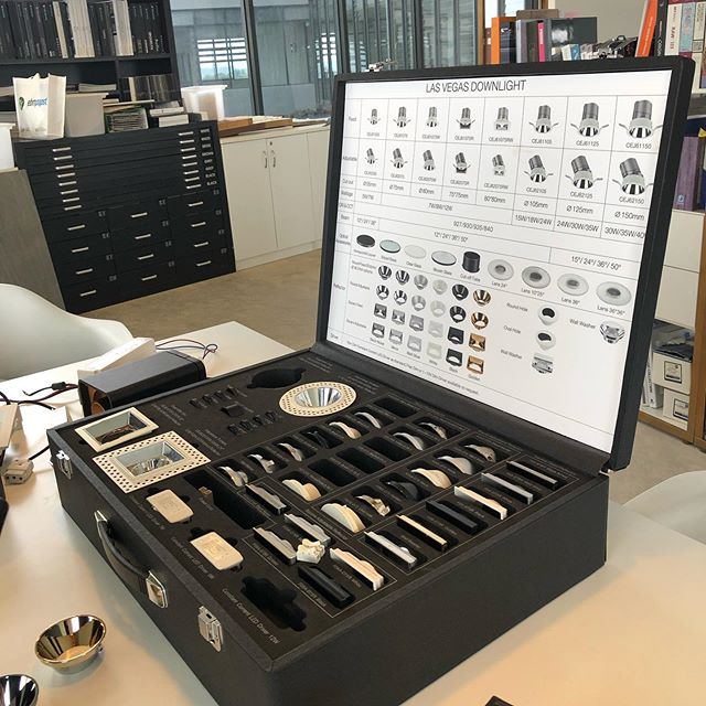 Magic box of lights! What a great way to choose recessed lights from a box full of casing and reflector shapes and colours. #exhalegroup #architecture #interiordesign #lighting #design #box #permutationsandcombinations