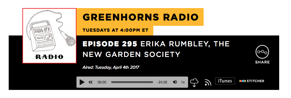 Conversation with Erika Rumbley and Severine v T Flemming on Greenhorns Radio, Heritage Radio Network