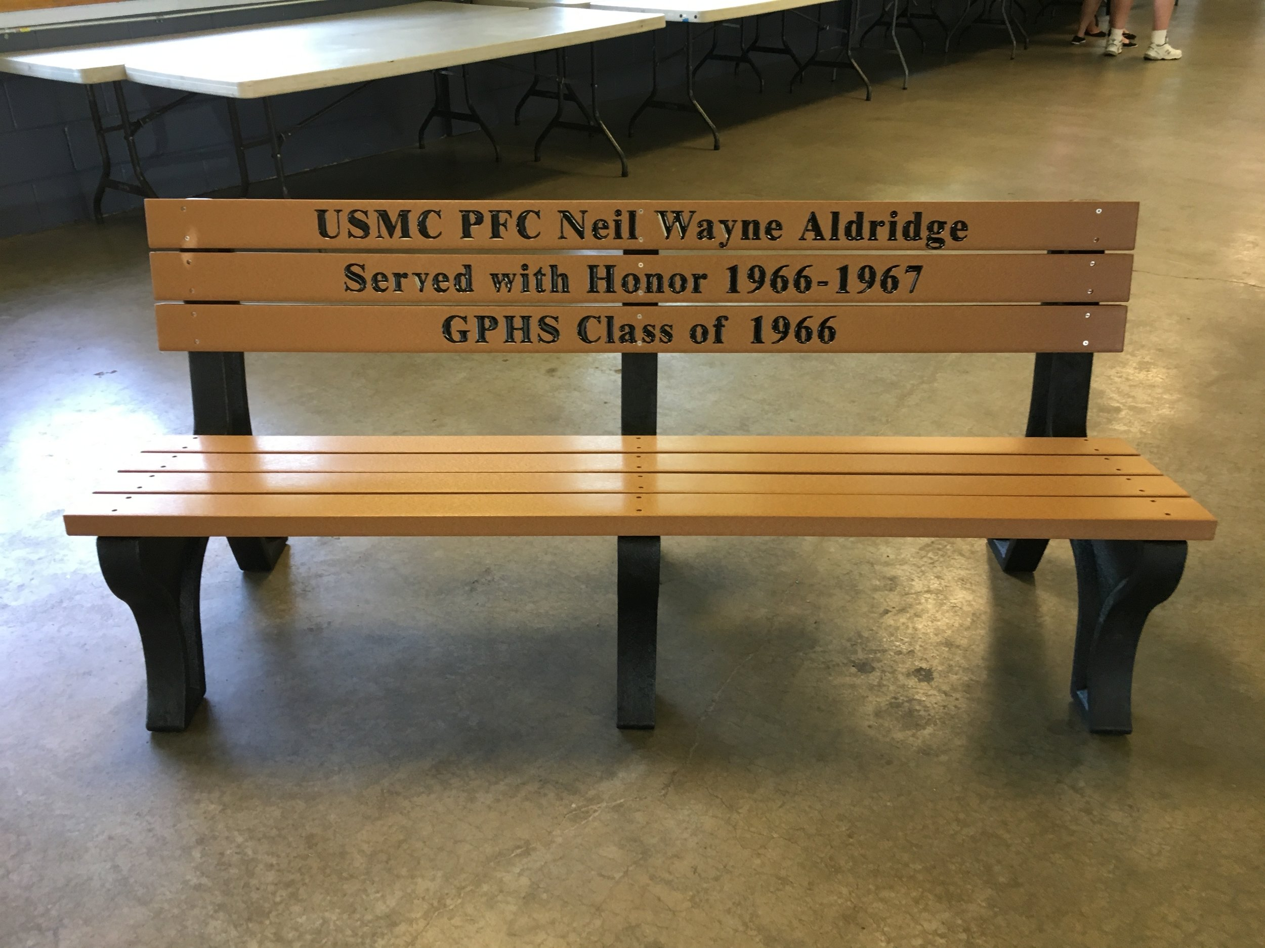 Bench dedicated to PFC Neil Wayne Aldridge, 2018.