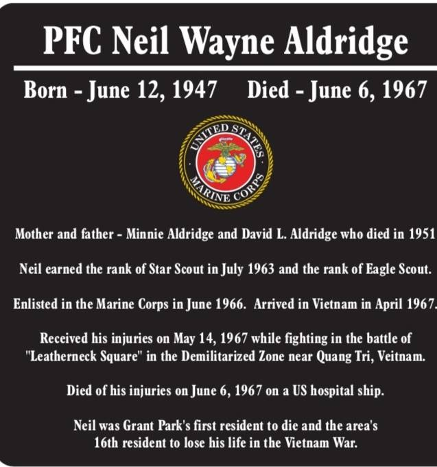 PFC Neil Wayne Aldridge dedication, 2018.