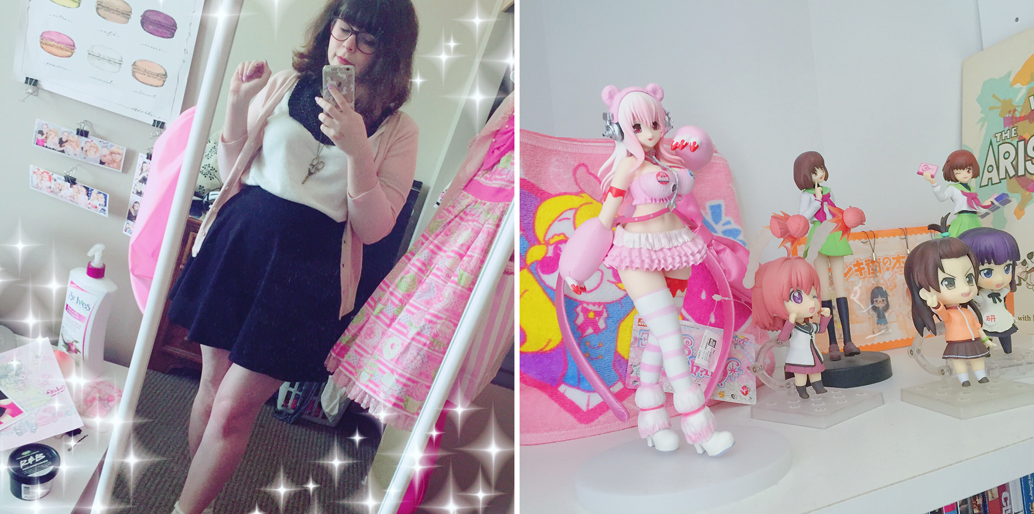 [left: outfit for running errands; right: my anime figures]