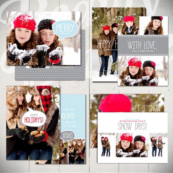 Christmas Card Templates Snow Day