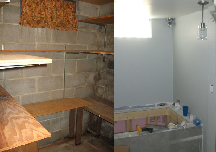 Fruit cellar to bathroom makeover - a little of the progress.